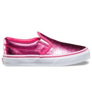 Girls size 3 hot pink metallic hearts Vans